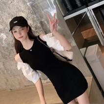 Dress Summer 2020 S,M,L,XL Middle-skirt singleton  Short sleeve commute Crew neck High waist Socket puff sleeve Type X Korean version knitting