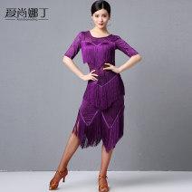 Latin Dance Costume Eshannadine female M,L,XL,XXL Black, deep purple, royal blue Tassel Rumba, Chacha, samba, cowboy, bullfight AS7092