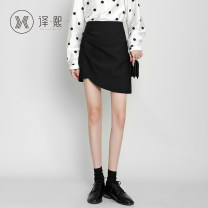 skirt Autumn 2020 XS S M L XL 2XL Black grey Short skirt commute High waist skirt Solid color 25-29 years old yixi5172sk 71% (inclusive) - 80% (inclusive) Yixi polyester fiber Korean version Polyester 78% cotton 20% polyurethane elastic fiber (spandex) 2%