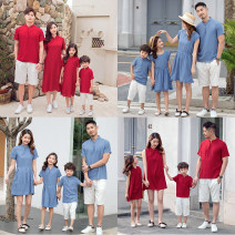 Parent child fashion A family of three Female, male, neutral Other / other summer Chinese style routine Solid color skirt Cotton and hemp L,M,S,XL Class B M,L,XL,XXL Chinese Mainland