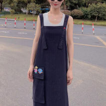 Dress Summer 2020 Navy Blue 2 / s, 3 / m, 4 / L, 5 / XL Mid length dress singleton  Sleeveless commute One word collar Loose waist stripe Socket One pace skirt routine straps 25-29 years old Type H O'amash banner Korean version Embroidery, pockets, stitching, straps 5500362-8098422-001 other hemp