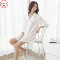 Pajamas / housewear set female Beautiful yet M, L White, dream purple Iced silk Long sleeves sexy pajamas summer Thin money Small lapel other More than 95% silk C122