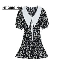Dress Summer 2021 Black flowers in stock S,M,L,XL Short skirt singleton  Short sleeve commute Crew neck High waist Decor A-line skirt routine Others bow 51% (inclusive) - 70% (inclusive) other