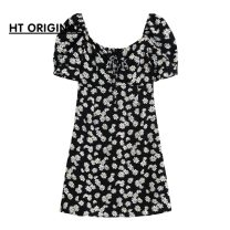 Dress Summer 2021 Flowers in stock S,M,L Short skirt singleton  Short sleeve commute One word collar High waist Decor A-line skirt routine Others bow 51% (inclusive) - 70% (inclusive) other