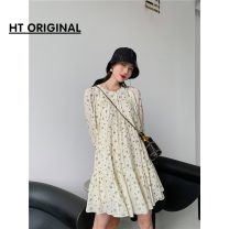Dress Spring 2021 Picture color in stock S,M,L Short skirt singleton  Long sleeves commute Crew neck High waist Decor Socket other puff sleeve Others 18-24 years old Type H Retro 81% (inclusive) - 90% (inclusive) other cotton