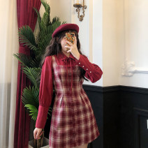 Dress Spring 2020 Red lattice, coffee lattice S,M,L Short skirt Long sleeves commute High waist Retro