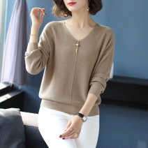 Wool knitwear Autumn of 2019 M L XL 2XL 3XL 4XL 5XL Red pink YaHei beige blue card Long sleeves singleton  Socket other More than 95% have cash less than that is registered in the accounts Thin money commute easy V-neck routine Solid color Socket Korean version YRX19-5K Yirenxuan Bright silk beads