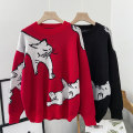 sweater Autumn 2020 Average size Black red Long sleeves Socket singleton  Regular Viscose 95% and above Crew neck Regular commute routine Cartoon animation Straight cylinder Regular wool 18-24 years old VV combination Viscose Viscose (viscose) 100% Pure e-commerce (online only)