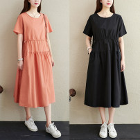 Dress Summer 2020 Black, pink M [recommended 125 kg], l [recommended 125-135 kg], XL [recommended 135-150 kg], 2XL [recommended 150-170 kg] Mid length dress singleton  Short sleeve commute Crew neck Loose waist Solid color routine 35-39 years old literature pocket 51% (inclusive) - 70% (inclusive)