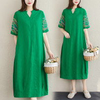 Dress Summer 2020 Red, green, pink M [recommended 125 kg], l [recommended 125-135 kg], XL [recommended 135-150 kg], 2XL [recommended 150-170 kg] Mid length dress singleton  Short sleeve commute V-neck Loose waist Solid color routine 35-39 years old ethnic style pocket cotton