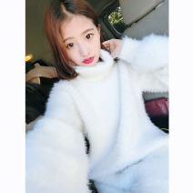sweater Winter 2020 S,M,L,XL White, light blue, light pink Long sleeves Socket Medium length other 31% (inclusive) - 50% (inclusive) High collar thickening commute Solid color Straight cylinder Regular wool Keep warm and warm