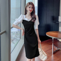 Dress Summer 2021 Black short, black long S,M,L,XL,2XL Mid length dress singleton  Short sleeve commute V-neck High waist Solid color Socket A-line skirt bishop sleeve Others 18-24 years old Type A Retro Splicing X4 - nine 31% (inclusive) - 50% (inclusive) other polyester fiber