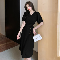 Dress Summer 2021 Yellow, black S,M,L Middle-skirt singleton  Short sleeve commute V-neck High waist Solid color Socket Irregular skirt Lotus leaf sleeve Others 18-24 years old Type A Korean version Button X4-6 31% (inclusive) - 50% (inclusive) other polyester fiber