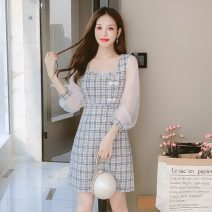 Dress Summer 2021 Picture color S,M,L Middle-skirt singleton  Long sleeves commute square neck High waist lattice zipper A-line skirt routine Others 18-24 years old Type A Retro Splicing, mesh X3-20 31% (inclusive) - 50% (inclusive) Chiffon polyester fiber