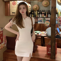 Dress Summer 2021 Gray, white, pink Average size Short skirt singleton  Short sleeve commute Polo collar High waist Solid color Socket other routine 18-24 years old Type X Korean version X4-7 31% (inclusive) - 50% (inclusive) other polyester fiber
