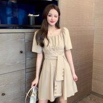 Dress Summer 2020 Khaki, grey S. M, l, XL, to ensure that the real object is consistent with the picture Middle-skirt singleton  Short sleeve commute square neck High waist Solid color A-line skirt puff sleeve Others 18-24 years old Type A Retro X6-15 31% (inclusive) - 50% (inclusive) other