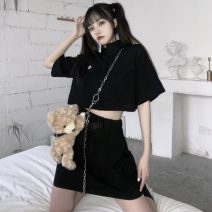 skirt Summer 2020 Average size Short skirt commute High waist A-line skirt Solid color Type A 18-24 years old Korean version