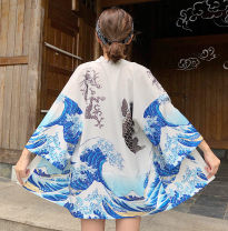 short coat Summer of 2019 Average size White, black three quarter sleeve Medium length routine singleton  easy street routine Crew neck Frenulum Abstract pattern 18-24 years old Other / other 96% and above printing polyester fiber