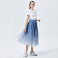 skirt Summer 2021 M / one size fits all Pink light blue gradient dark blue gradient longuette commute High waist Pleated skirt Solid color Type A 25-29 years old BQECA671 More than 95% Chiffon Beloan polyester fiber fold literature Polyester 100% Pure e-commerce (online only)