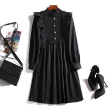 Dress Summer 2021 black L XL 2XL 3XL 4XL Middle-skirt singleton  Long sleeves commute Half high collar Loose waist Solid color Socket A-line skirt routine Others 30-34 years old Type A Touch miss Korean version Ruffle stitching button T21032308MY 31% (inclusive) - 50% (inclusive) knitting cotton