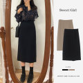 skirt Spring 2021 S,M,L,XL,XXL Black skirt, Khaki Skirt longuette Versatile High waist other Solid color Type A 18-24 years old 6673 skirt 71% (inclusive) - 80% (inclusive) brocade BEIHONG other
