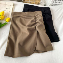 skirt Spring 2021 S M L XL Black Khaki Short skirt commute High waist Irregular Solid color Type A 18-24 years old QING - one . twenty-six - 01 More than 95% other Coshehkg / Qiao line other Pleated zipper Korean version Other 100% Exclusive payment of tmall