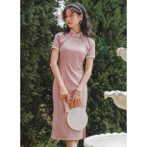 cheongsam Summer 2021 S M L 2056 pink 2056 light blue Short sleeve long cheongsam Retro Low slit daily double-breasted  lattice 18-25 years old Piping C2104011010 Sweet and soft other Other 100% Pure e-commerce (online only)