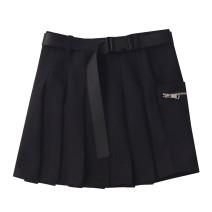 skirt Spring 2021 S,M,L Versatile black, grey temperament Short skirt commute High waist A-line skirt Solid color Type A 18-24 years old polyester fiber zipper Korean version