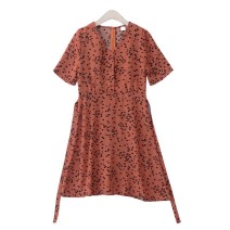 Dress Summer 2020 Average size singleton  Short sleeve commute V-neck High waist Single breasted A-line skirt routine 18-24 years old Type A Korean version Lace up, button More than 95% Chiffon polyester fiber