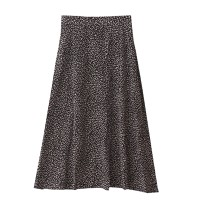 skirt Autumn 2020 Average size Black background, white background Mid length dress commute High waist A-line skirt Leopard Print Type A 18-24 years old More than 95% Chiffon polyester fiber printing Korean version