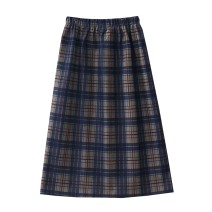 skirt Autumn 2020 Average size Blue grid, black grid, green grid Mid length dress Versatile High waist A-line skirt lattice Type A 18-24 years old