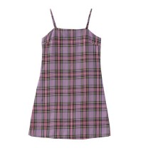 Dress Spring 2020 Pink and Purple Plaid with adjustable shoulder strap S, M Short skirt singleton  Sleeveless commute lattice camisole 18-24 years old Type A Korean version zipper