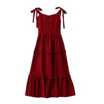 Dress Summer 2020 Yellow, temperament red (physical color is dark), versatile black M,XL Mid length dress singleton  Sleeveless commute V-neck High waist Solid color Socket A-line skirt camisole 18-24 years old Type A Retro Bowknot, Auricularia auricula, lace, stitching, bandage More than 95% Chiffon