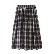 skirt Autumn 2020 Average size Black check Mid length dress Versatile High waist A-line skirt lattice Type A 18-24 years old