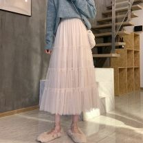 skirt Spring 2021 S size (less than 100 kg recommended), M size (100-112 kg recommended), L size (112-128 kg recommended) Classic black, elegant apricot color, retro card color, [counter quality + genuine products], [no fading, no pilling collection, priority delivery] Mid length dress Versatile