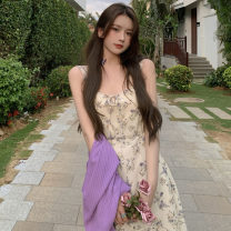 Dress Summer 2021 Suspender skirt, long sleeve skirt, cardigan S. M, l, average size Mid length dress singleton  Sleeveless commute V-neck High waist Broken flowers Socket A-line skirt other camisole 18-24 years old Type A Other / other Korean version Open back, lace up, print other other