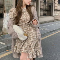 Dress Spring 2020 Apricot Average size Short skirt singleton  Long sleeves commute Crew neck High waist Hand painted Socket other routine Others Type A Korean version Fold, print 51% (inclusive) - 70% (inclusive) other polyester fiber