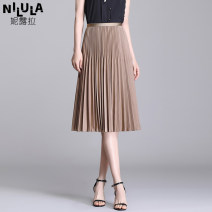 skirt Summer 2021 Average size Coffee black green blue white yellow Mid length dress commute High waist Pleated skirt Solid color Type A NL56B1112 71% (inclusive) - 80% (inclusive) Nerula polyester fiber Pleated elastic waist