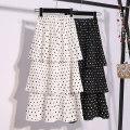 skirt Summer 2020 Average size White, black Mid length dress Versatile High waist Cake skirt Dot Type A 25-29 years old 91% (inclusive) - 95% (inclusive) Chiffon polyester fiber