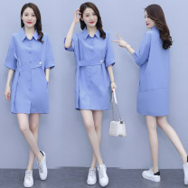 Dress Summer 2021 Blue white S M L XL 2XL longuette singleton  Long sleeves commute Polo collar High waist Solid color Single breasted A-line skirt routine 25-29 years old Type A Chu Xin Button More than 95% other Other 100% Pure e-commerce (online only)