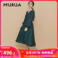 Dress Spring 2020 Green blue F longuette singleton  Long sleeves Sweet V-neck middle-waisted Broken flowers Socket other routine Others 18-24 years old MURUA More than 95% polyester fiber Polyester 100% solar system