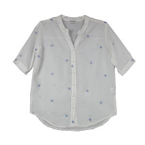 shirt white S, M Spring 2021 hemp 30% and below Short sleeve commute Regular V-neck Single row multi button routine Solid color Straight cylinder Other / other