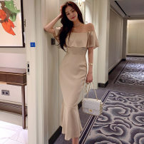 Middle aged and old women's wear Summer 2021 Off white S,M,L,XL commute singleton  Solid color One word collar Lotus leaf sleeve MAJE BRIAN Lotus leaf edge 81% (inclusive) - 90% (inclusive) Medium length Ruffle Skirt Ol style