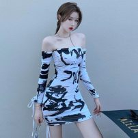 Dress Autumn 2020 white S,M,L Short skirt singleton  Long sleeves commute One word collar High waist A-line skirt other Breast wrapping 18-24 years old Type A Korean version