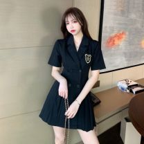 Dress Summer 2020 Black, khaki S,M,L,XL,2XL,3XL,4XL Middle-skirt singleton  Short sleeve commute V-neck High waist Solid color double-breasted Pleated skirt routine Others 18-24 years old Type A Korean version Fold, patch, button 71% (inclusive) - 80% (inclusive)