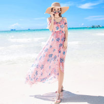 Dress Summer of 2018 Decor S M L XL longuette singleton  Sweet V-neck High waist Decor Socket Irregular skirt Lotus leaf sleeve camisole 25-29 years old Potential Ruffle backless print More than 95% Chiffon polyester fiber Polyester 100% Bohemia Pure e-commerce (online only)