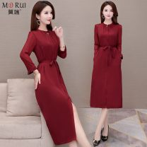 Dress Autumn 2020 L XL 2XL 3XL 4XL longuette singleton  Long sleeves commute Crew neck middle-waisted Solid color Socket A-line skirt routine Others 30-34 years old Murray Korean version Lace up stitching More than 95% other polyester fiber Other polyester 95% 5% Pure e-commerce (online only)