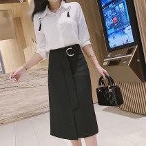 skirt Spring 2020 S,M,L,XL,2XL black Mid length dress commute High waist Irregular Solid color Type A other other Asymmetric, strap, zipper Korean version