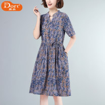 Dress Summer 2021 Blue flower and coffee flower M L XL 2XL 3XL Mid length dress singleton  Short sleeve commute V-neck Loose waist Decor Socket A-line skirt routine Others 40-49 years old Type A Furdort / Frodo Korean version Pleated pocket lace up button print Drawstring Furdort / fy998200 other