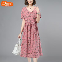 Dress Summer 2021 Pink Green M L XL 2XL longuette singleton  Short sleeve commute V-neck Loose waist Broken flowers Socket A-line skirt routine Others 40-49 years old Type A Furdort / Frodo Korean version Pleated pocket with lace up button print Furdort / Frodo lyw803100 other cotton